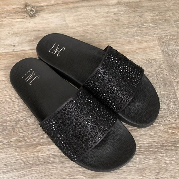 New Inc Macys Black Rhinestone Slides